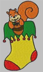 Squirrel Stocking embroidery design