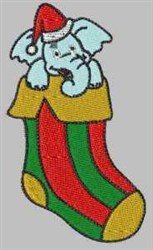 Elephant Stocking embroidery design