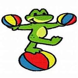 Juggle Frog embroidery design