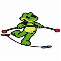 Tightrope Frog embroidery design