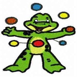 Juggling Frog embroidery design