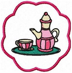 Tea Set Coaster embroidery design
