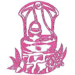 Water Well Redwork embroidery design
