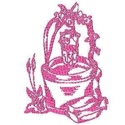 Watering Well Redwork embroidery design