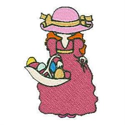 Easter Basket Woman embroidery design
