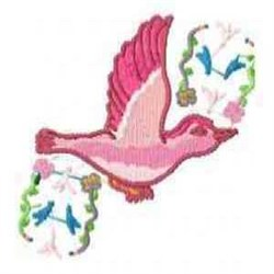 Bird Flower embroidery design