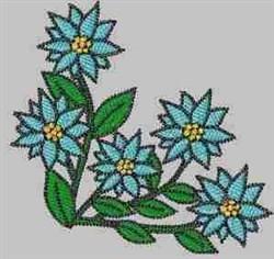 Blue Floral Corner embroidery design