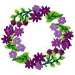 Purple Floral Wreath embroidery design