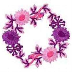 Purple Floral Wreath embroidery design