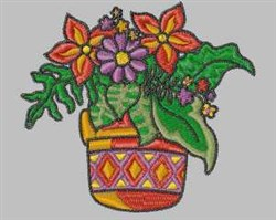 Flowerpot embroidery design