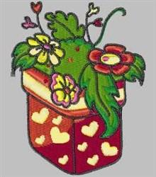 Heart Flowerpot embroidery design