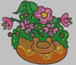 Flowerpot embroidery design