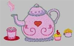 Teapot And Cupcake embroidery design
