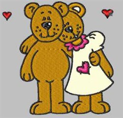 Bear Couple embroidery design