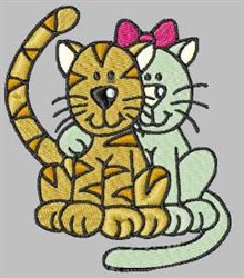 Kitty Couple embroidery design