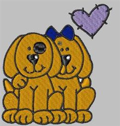 Puppy Couple embroidery design