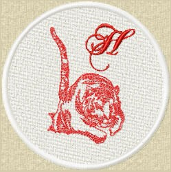 FSL Red Tiger h embroidery design