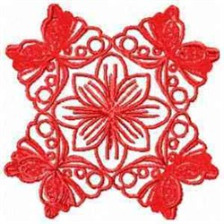 Red Butterflies Block embroidery design