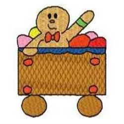Gingerbread Waving Train embroidery design
