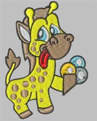 Ice Cream Giraffe embroidery design