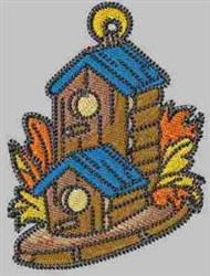 Log Birdhouse embroidery design