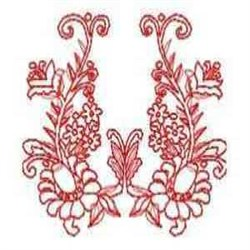 Beautiful Floral Redwork embroidery design