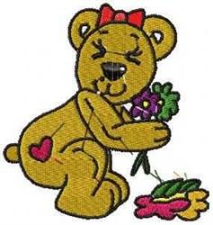 Girl Love Bear embroidery design