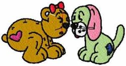 Bear & Puppy embroidery design