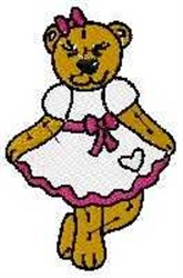 Curtsying Bear embroidery design
