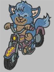 Cute Biker Cat embroidery design