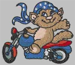 Patriotic Biker Cat embroidery design
