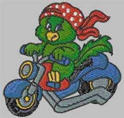 Biker Parrot embroidery design