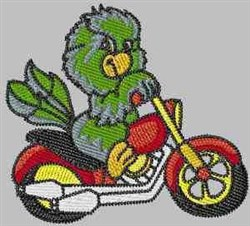 Bike Riding Parrot embroidery design