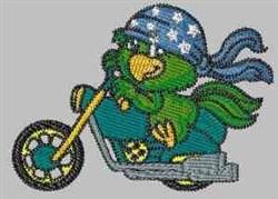 Patriotic Biker Parrot embroidery design