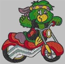 Waving Biker Parrot embroidery design