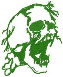 Scary Green Skull embroidery design