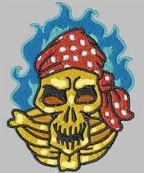 Flaming Pirate Skull embroidery design