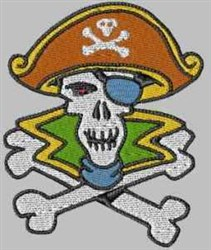 Pirate Skull embroidery design