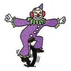 Unicycle Clown embroidery design