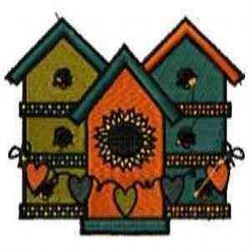 Birdhouses with Hearts embroidery design