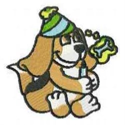 Birthday Beagle embroidery design
