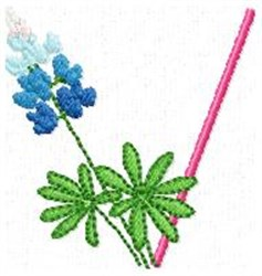 Blue Bonnet V embroidery design