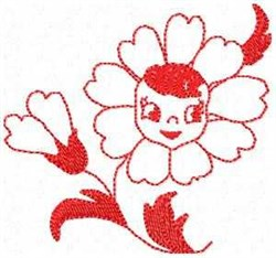 Petal Pam Redwork embroidery design