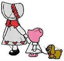Sunbonnet Out Walking embroidery design