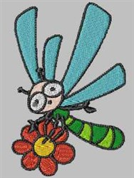 Dragonfly on Flower embroidery design