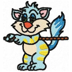 Tugging Cat embroidery design