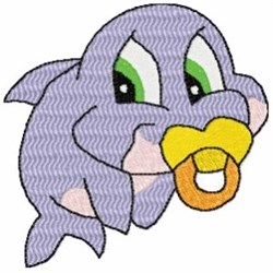 Pacifier Dolphin embroidery design