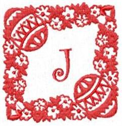 Easter Alpha J embroidery design