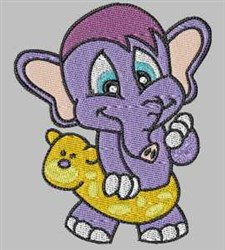 Swimming Elephant embroidery design