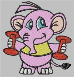 Elephant Weight Lifting embroidery design